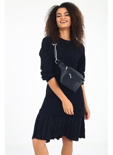 Emjey Özel Tasarım Siyah Sweat Elbise Siyah